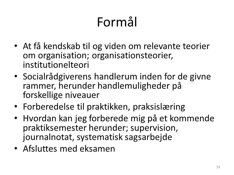 Formål At få kendskab til og viden om relevante teorier om organisation; organisationsteorier, institutionelteori.