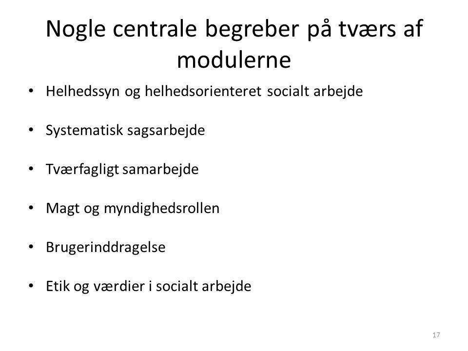 Nogle centrale begreber på tværs af modulerne