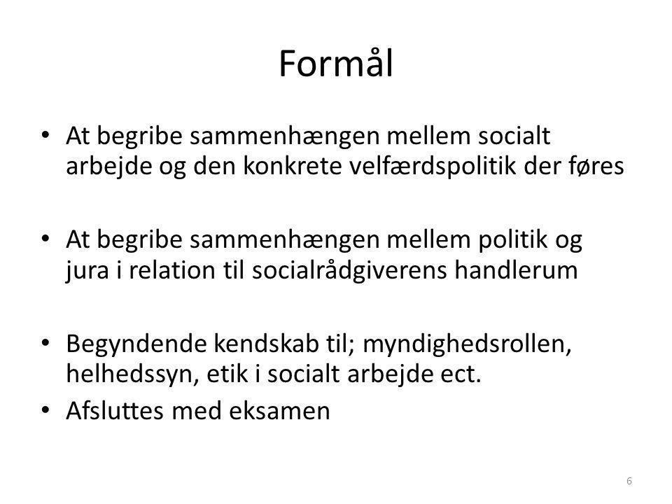 Formål At begribe sammenhængen mellem socialt arbejde og den konkrete velfærdspolitik der føres.
