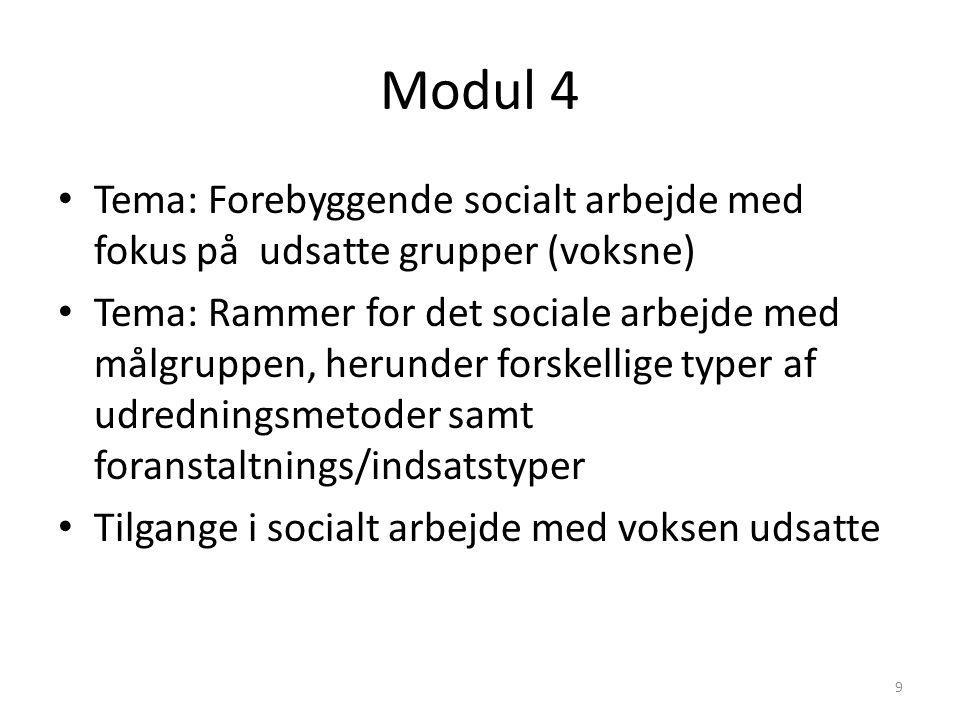 Modul 4 Tema: Forebyggende socialt arbejde med fokus på udsatte grupper (voksne)