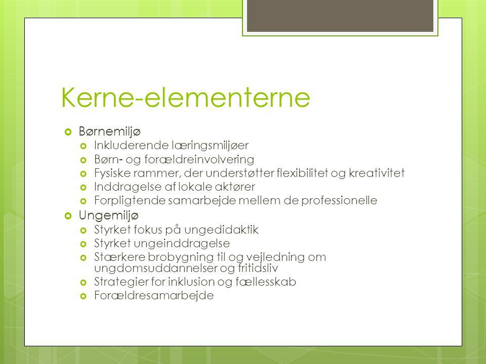 Kerne-elementerne Børnemiljø Ungemiljø Inkluderende læringsmiljøer