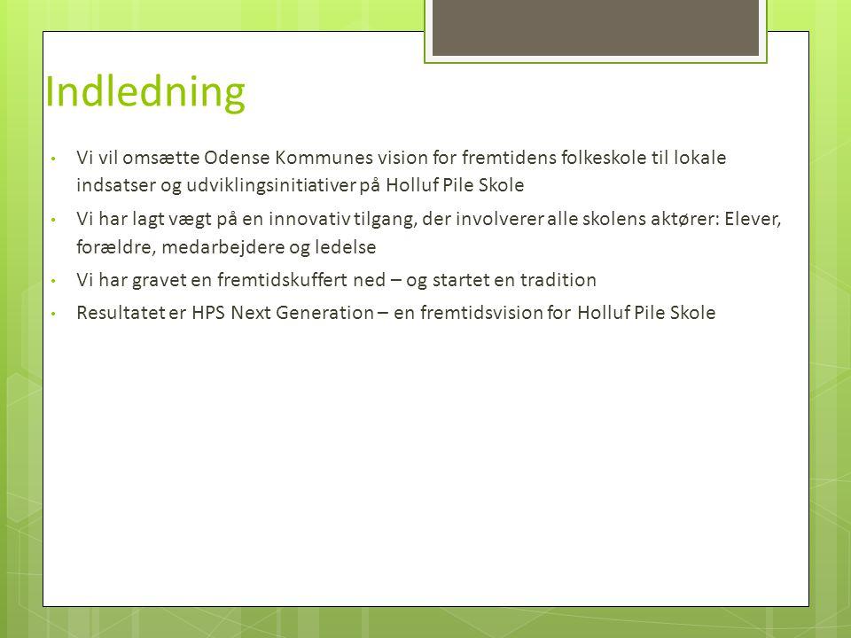 Indledning Vi vil omsætte Odense Kommunes vision for fremtidens folkeskole til lokale indsatser og udviklingsinitiativer på Holluf Pile Skole.