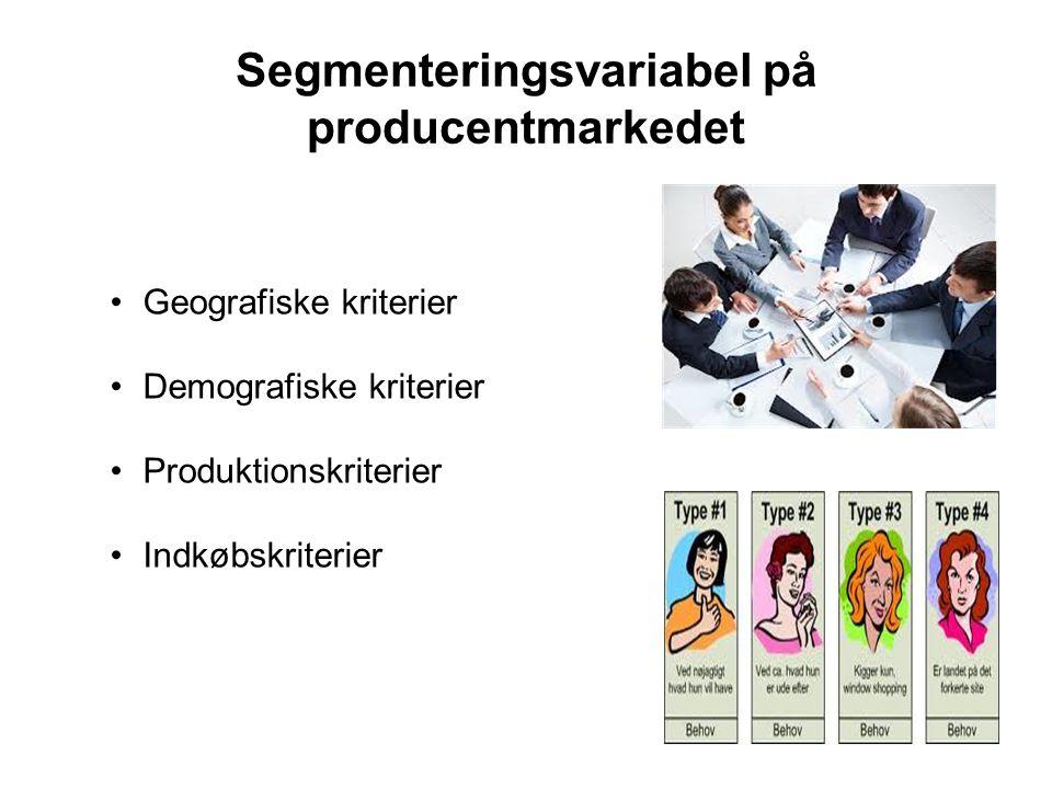 Segmenteringsvariabel på producentmarkedet