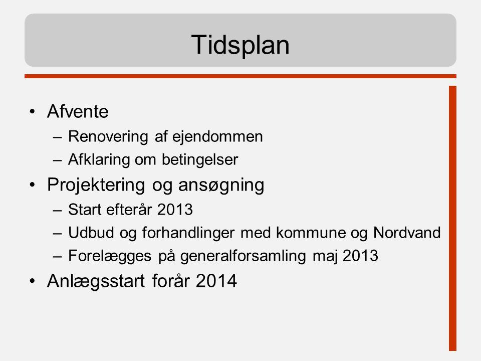 Tidsplan Afvente Projektering og ansøgning Anlægsstart forår 2014
