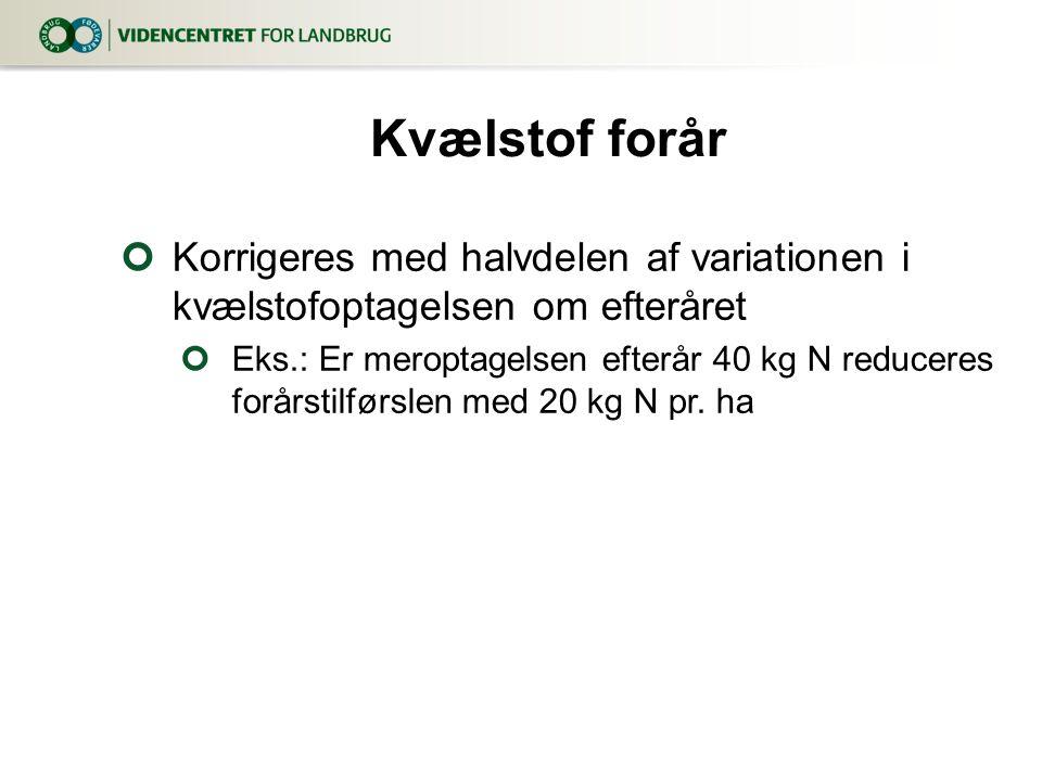 Kvælstof forår Korrigeres med halvdelen af variationen i kvælstofoptagelsen om efteråret.