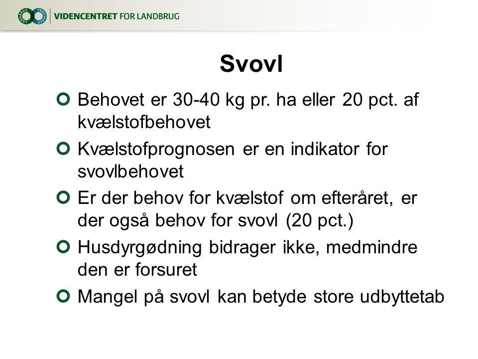 Svovl Behovet er 30-40 kg pr. ha eller 20 pct. af kvælstofbehovet