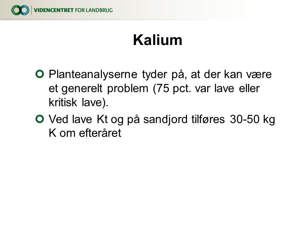 3. april 2017 Kalium. Planteanalyserne tyder på, at der kan være et generelt problem (75 pct. var lave eller kritisk lave).