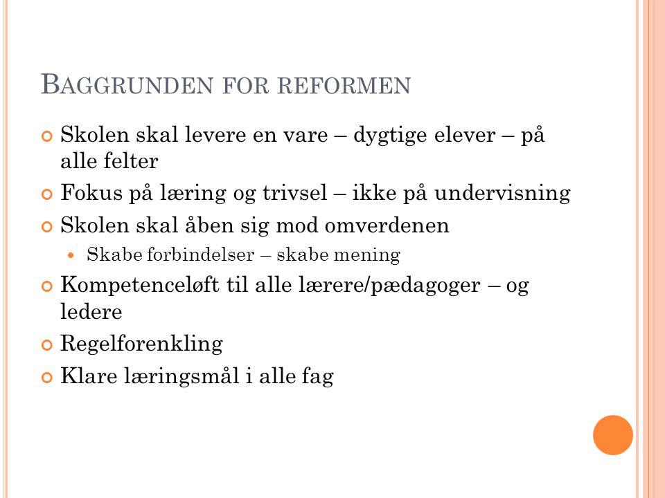 Baggrunden for reformen