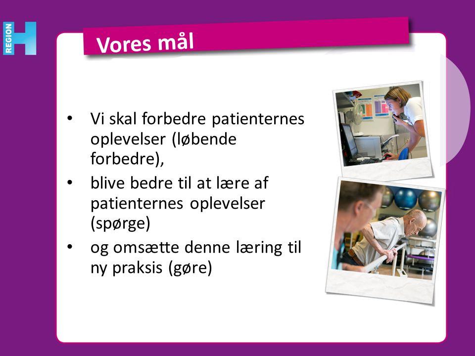 Vores mål Vi skal forbedre patienternes oplevelser (løbende forbedre),