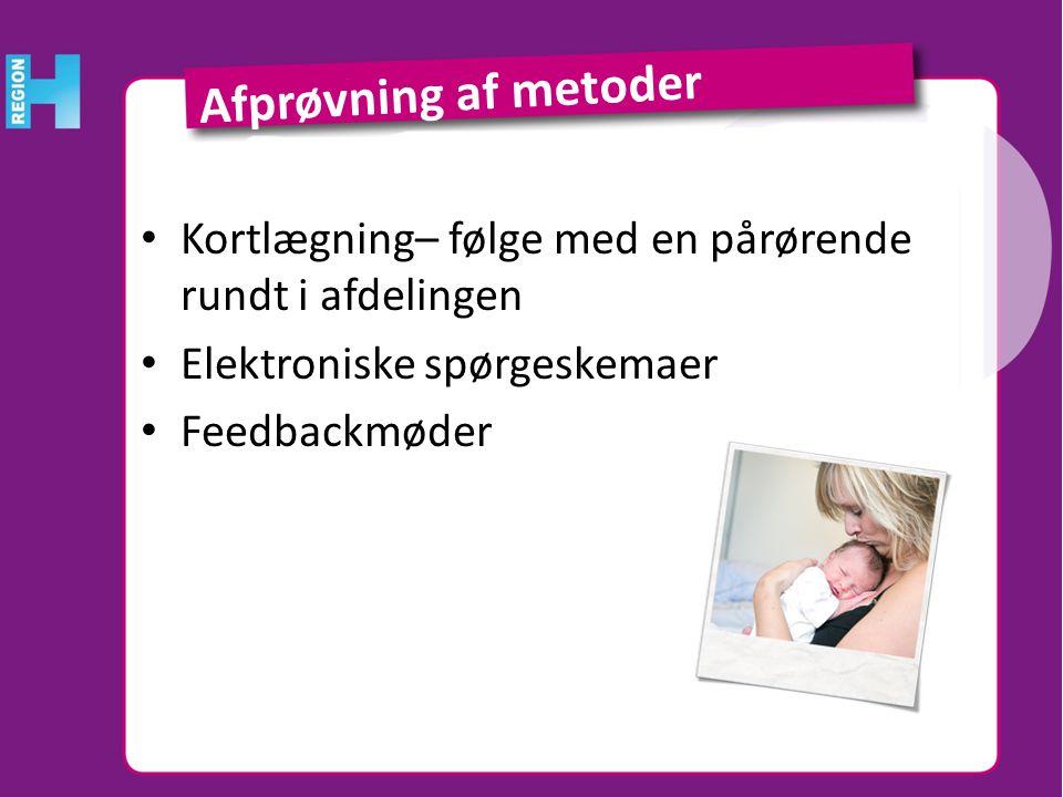 Afprøvning af metoder Kortlægning– følge med en pårørende rundt i afdelingen. Elektroniske spørgeskemaer.