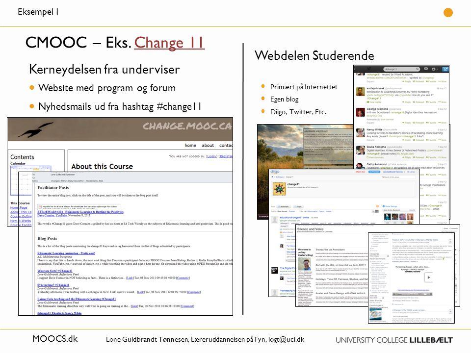 CMOOC – Eks. Change 11 Webdelen Studerende Kerneydelsen fra underviser
