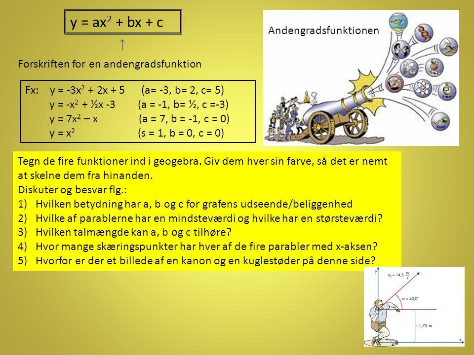 y = ax2 + bx + c Andengradsfunktionen 