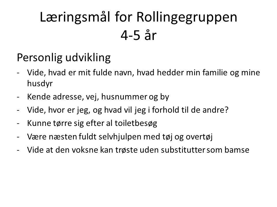 Læringsmål for Rollingegruppen 4-5 år