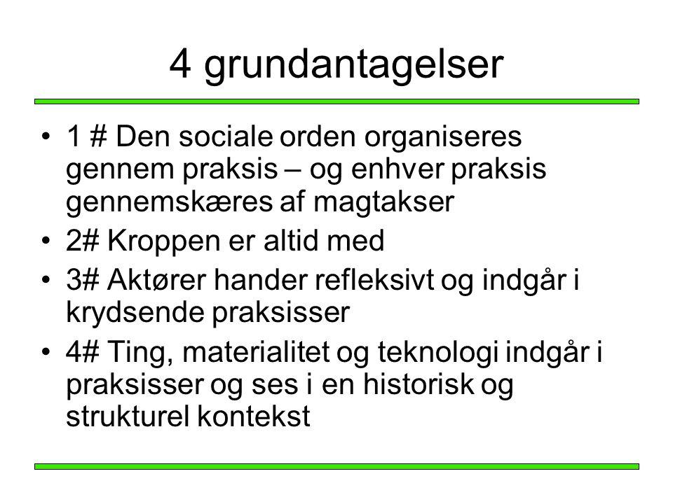 4 grundantagelser 1 # Den sociale orden organiseres gennem praksis – og enhver praksis gennemskæres af magtakser.