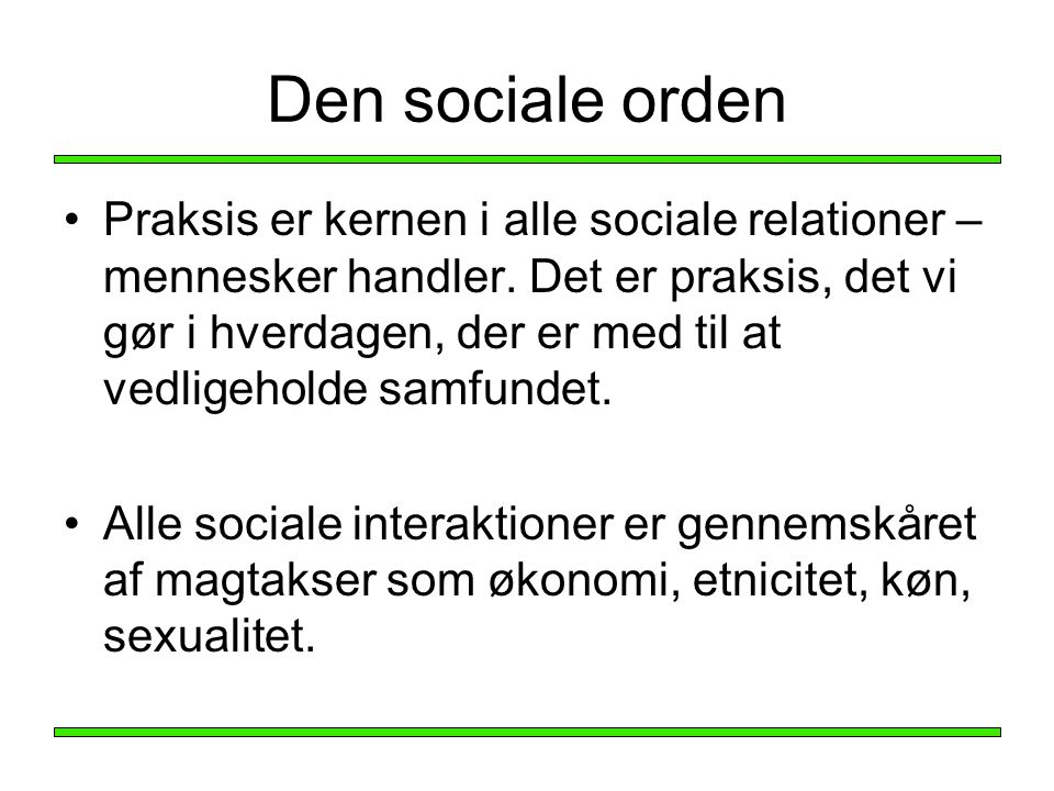 Den sociale orden