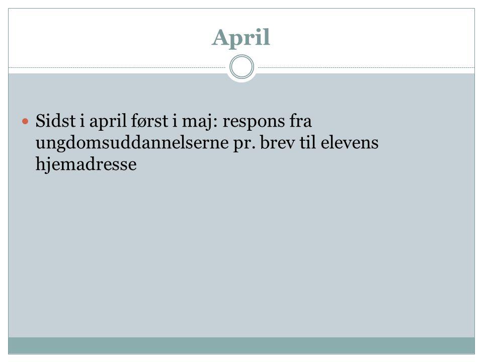 April Sidst i april først i maj: respons fra ungdomsuddannelserne pr. brev til elevens hjemadresse