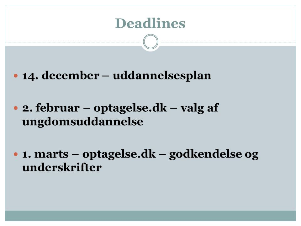 Deadlines 14. december – uddannelsesplan