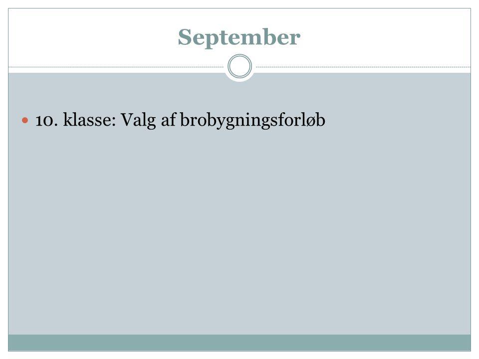 September 10. klasse: Valg af brobygningsforløb