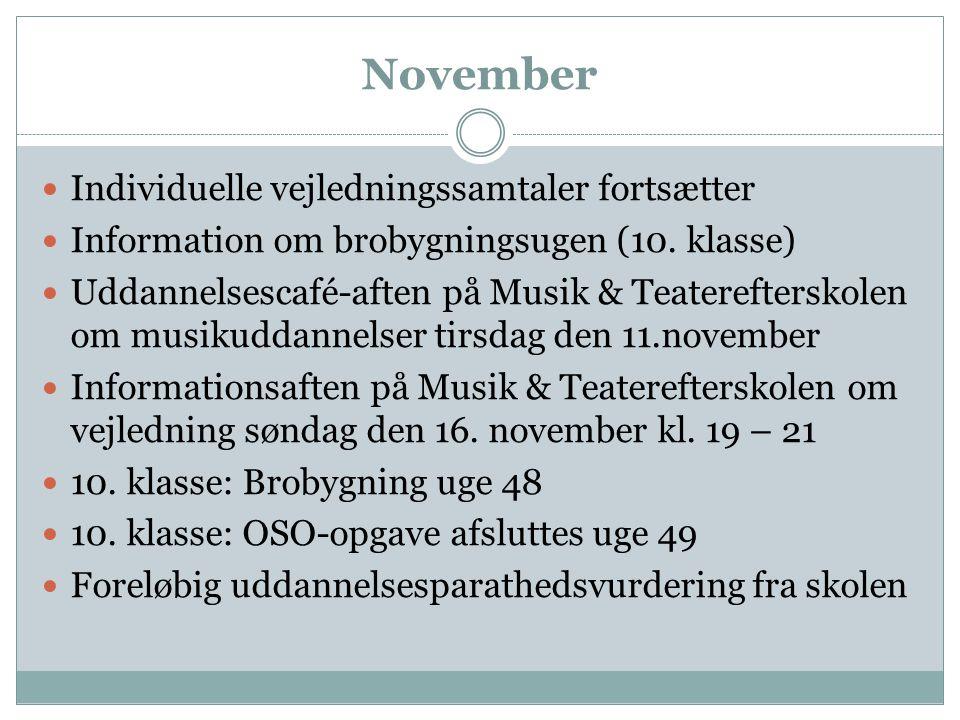 November Individuelle vejledningssamtaler fortsætter