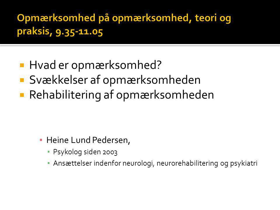 Opmærksomhed på opmærksomhed, teori og praksis, 9.35-11.05