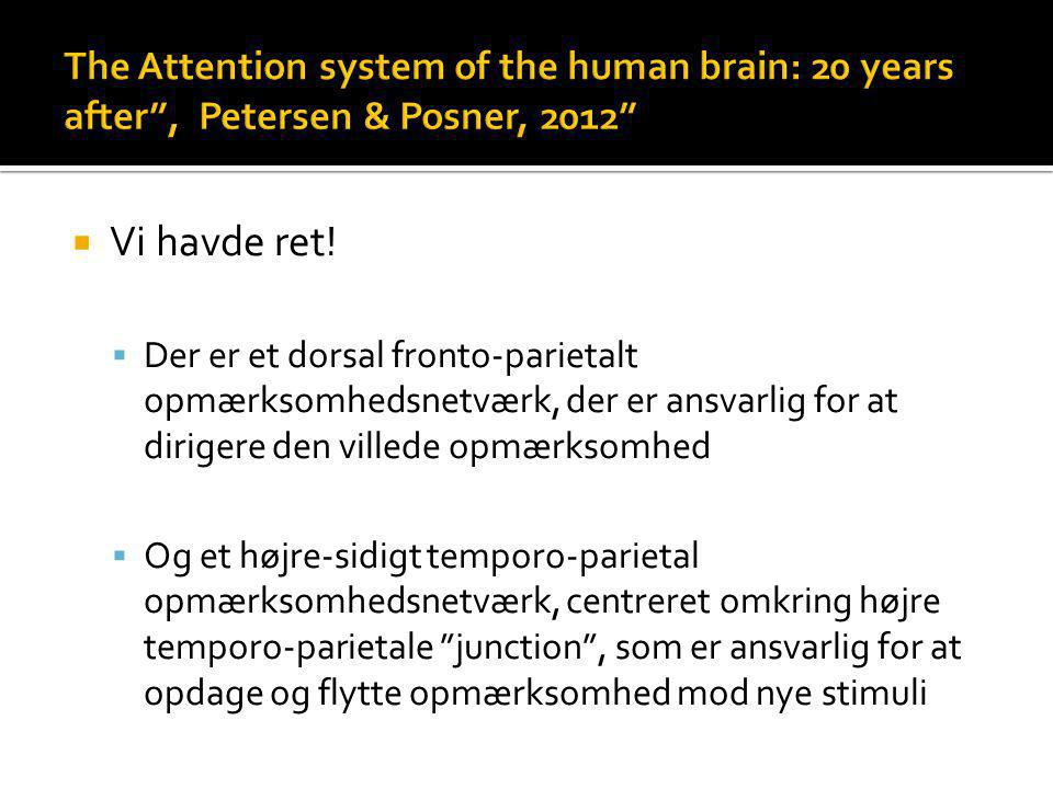 The Attention system of the human brain: 20 years after , Petersen & Posner, 2012