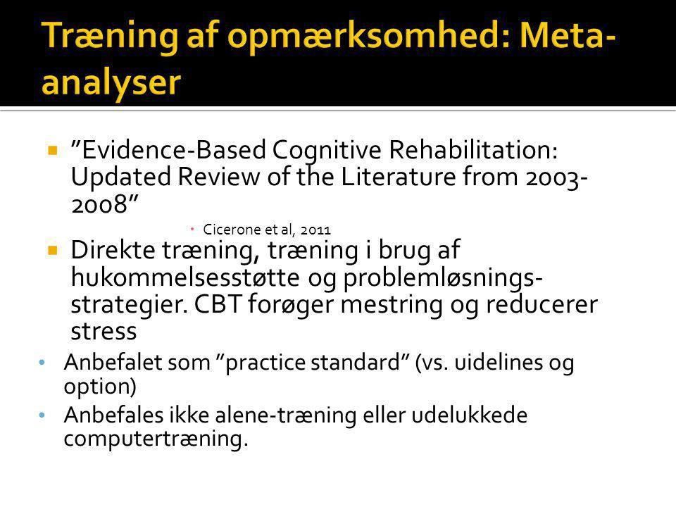 Træning af opmærksomhed: Meta-analyser