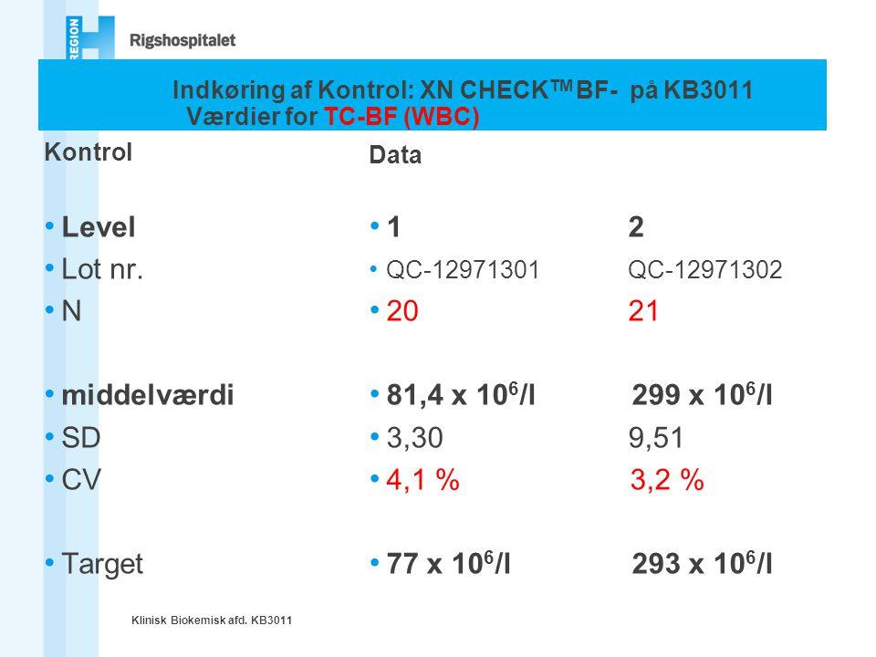 Indkøring af Kontrol: XN CHECKTM BF- på KB3011 Værdier for TC-BF (WBC)