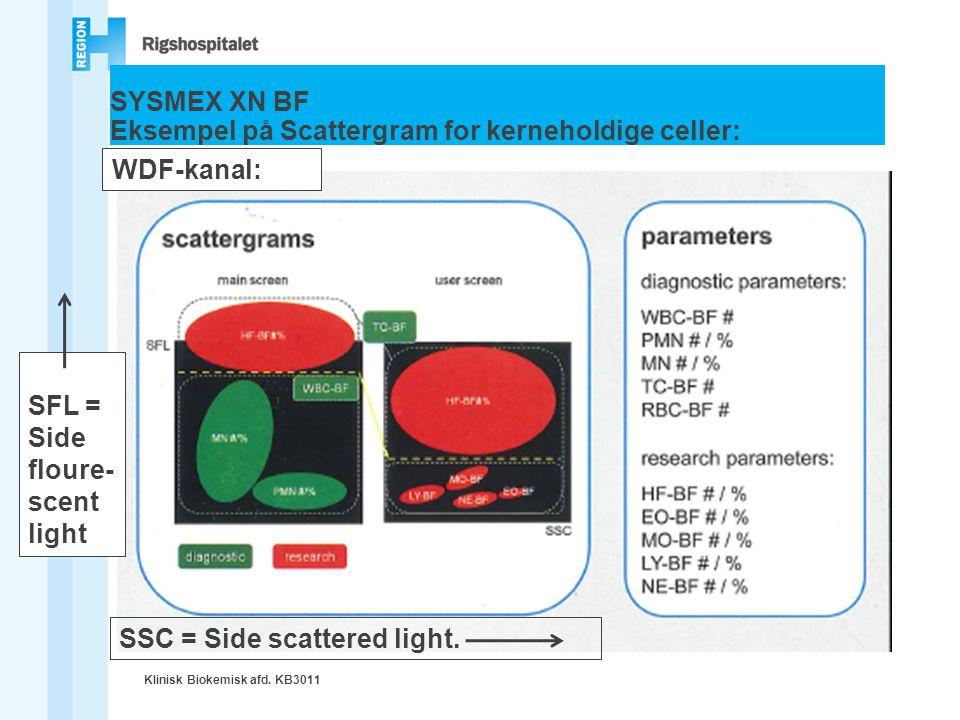SYSMEX XN BF Eksempel på Scattergram for kerneholdige celler: