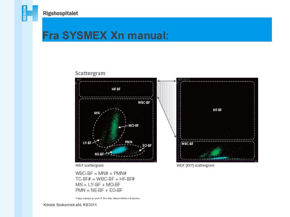 Fra SYSMEX Xn manual: Klinisk Biokemisk afd. KB3011