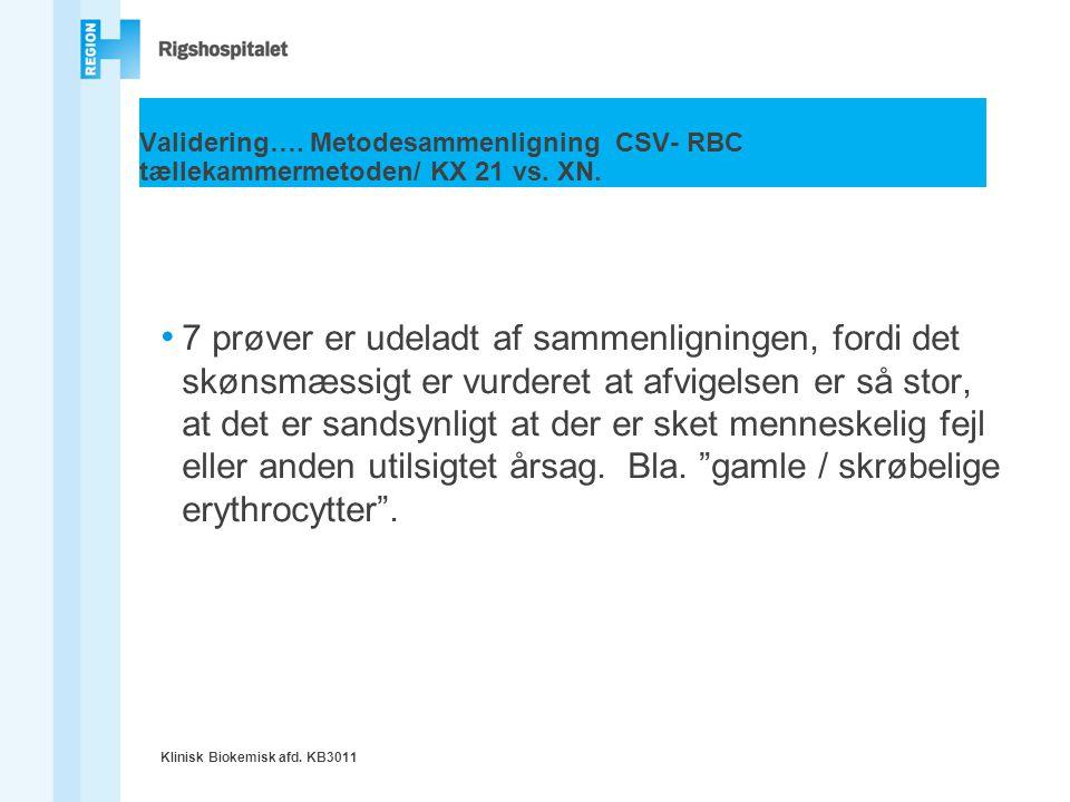 Validering…. Metodesammenligning CSV- RBC tællekammermetoden/ KX 21 vs
