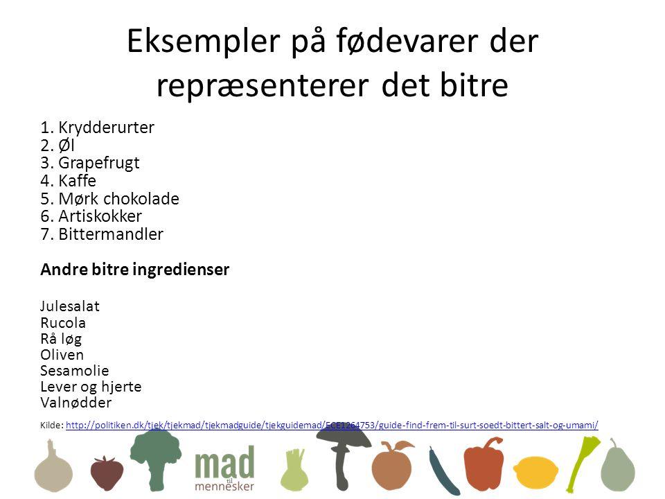 Eksempler på fødevarer der repræsenterer det bitre