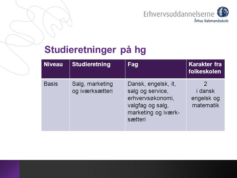Studieretninger på hg Niveau Studieretning Fag