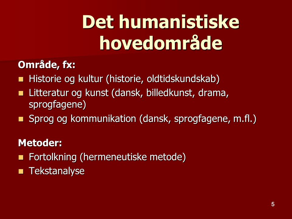 Det humanistiske hovedområde