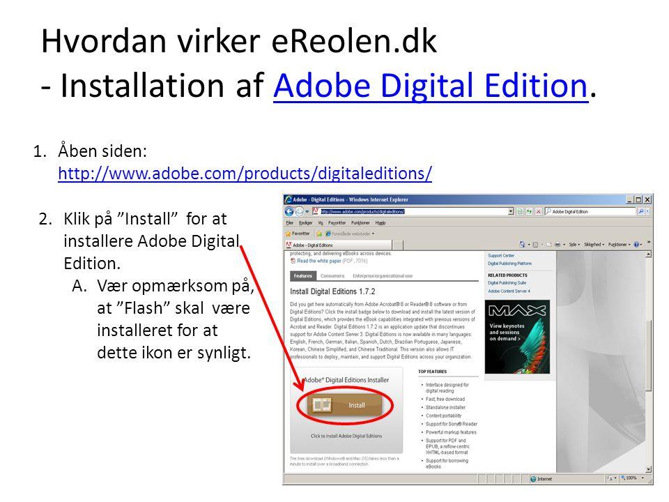 Hvordan virker eReolen.dk - Installation af Adobe Digital Edition.