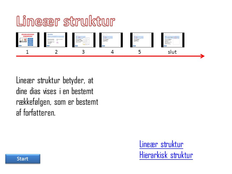 Lineær struktur 1. 2. 3. 4. 5. slut. Lineær struktur betyder, at dine dias vises i en bestemt rækkefølgen, som er bestemt af forfatteren.