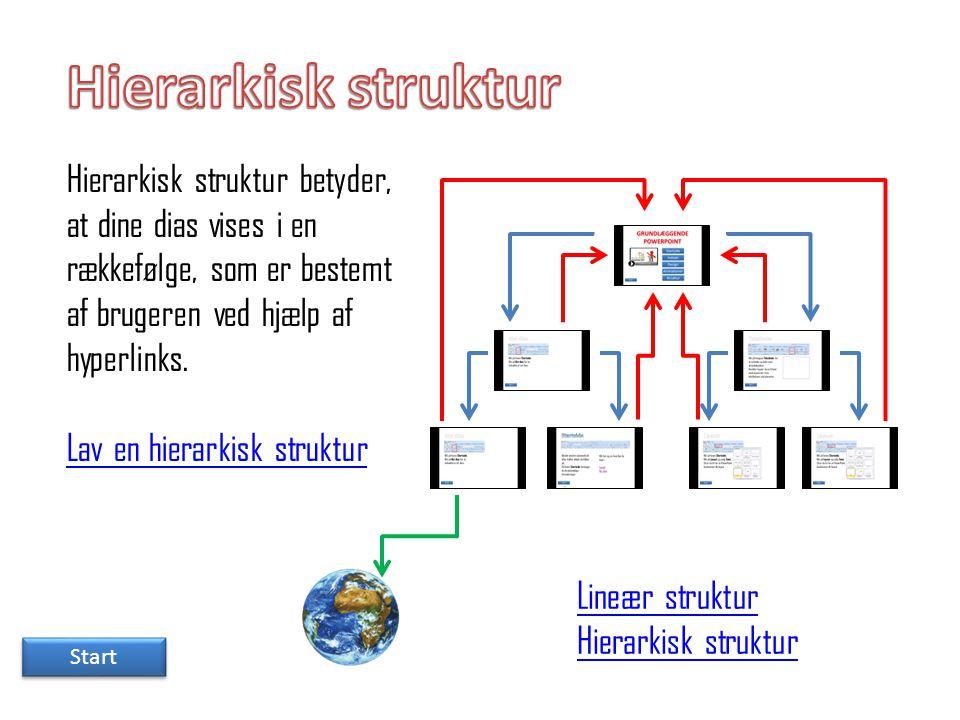 Hierarkisk struktur Hierarkisk struktur betyder, at dine dias vises i en rækkefølge, som er bestemt af brugeren ved hjælp af hyperlinks.