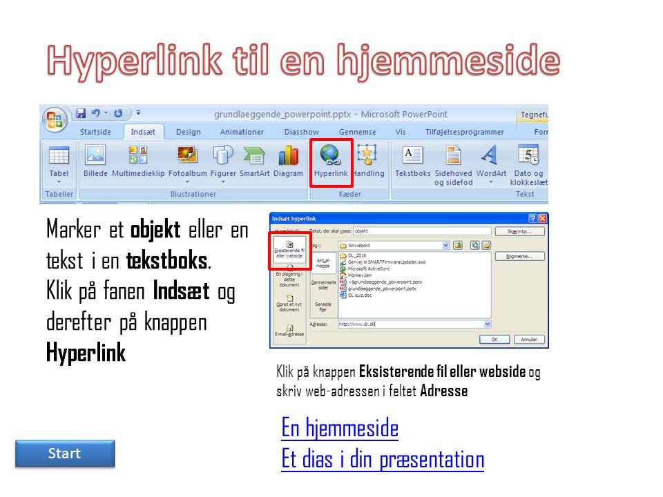 Hyperlink til en hjemmeside