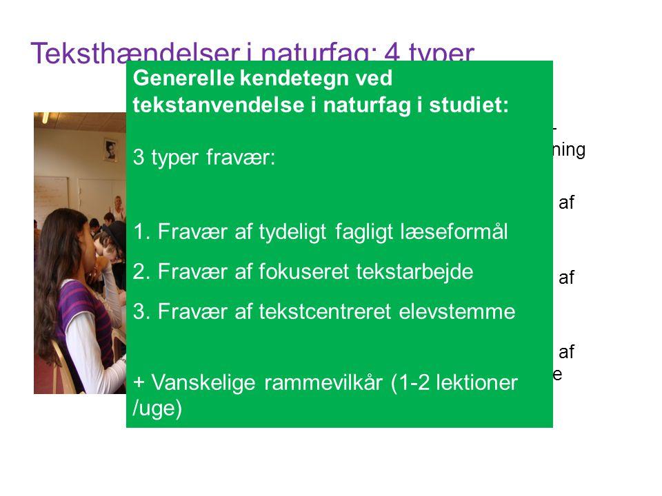 Teksthændelser i naturfag: 4 typer