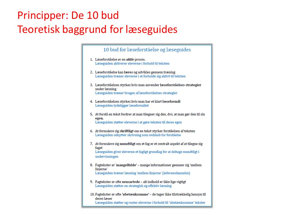 Principper: De 10 bud Teoretisk baggrund for læseguides