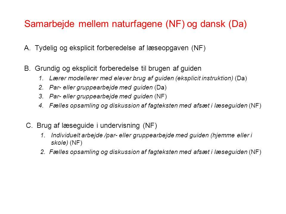 Samarbejde mellem naturfagene (NF) og dansk (Da)
