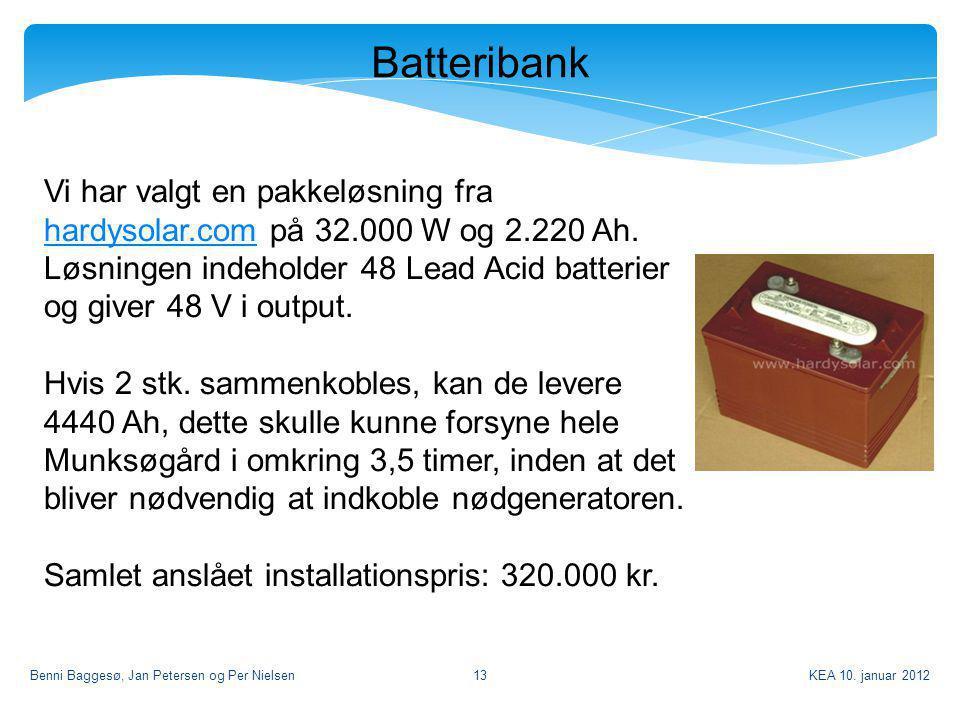 Batteribank Vi har valgt en pakkeløsning fra hardysolar.com på 32.000 W og 2.220 Ah.