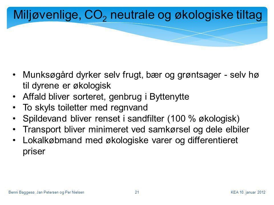 Miljøvenlige, CO2 neutrale og økologiske tiltag