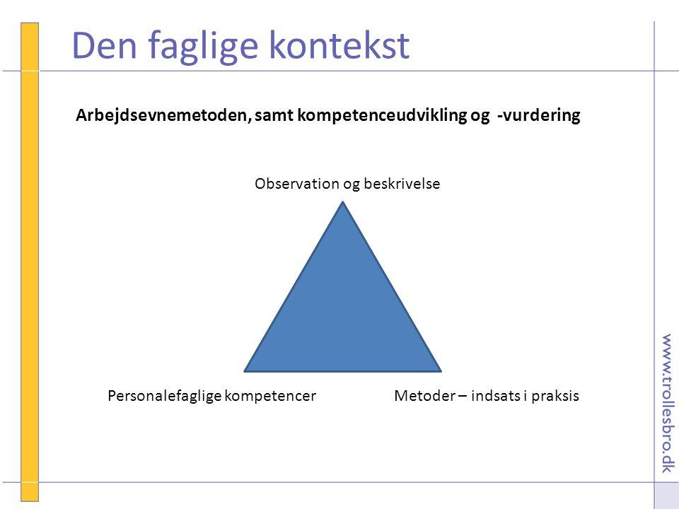Den faglige kontekst Arbejdsevnemetoden, samt kompetenceudvikling og -vurdering. Observation og beskrivelse.