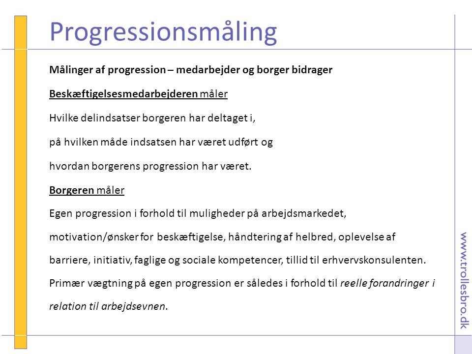 Progressionsmåling Målinger af progression – medarbejder og borger bidrager. Beskæftigelsesmedarbejderen måler.