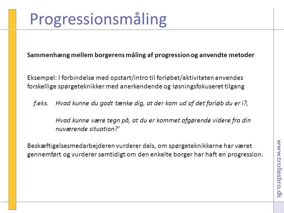 Progressionsmåling Sammenhæng mellem borgerens måling af progression og anvendte metoder.
