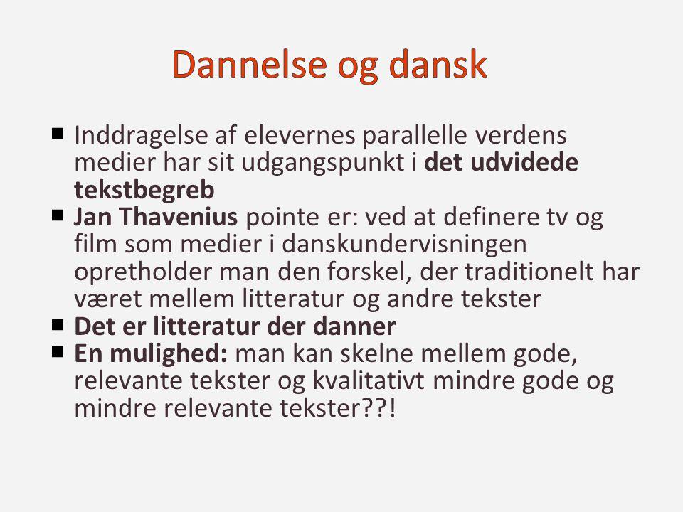 Dannelse og dansk Inddragelse af elevernes parallelle verdens medier har sit udgangspunkt i det udvidede tekstbegreb.