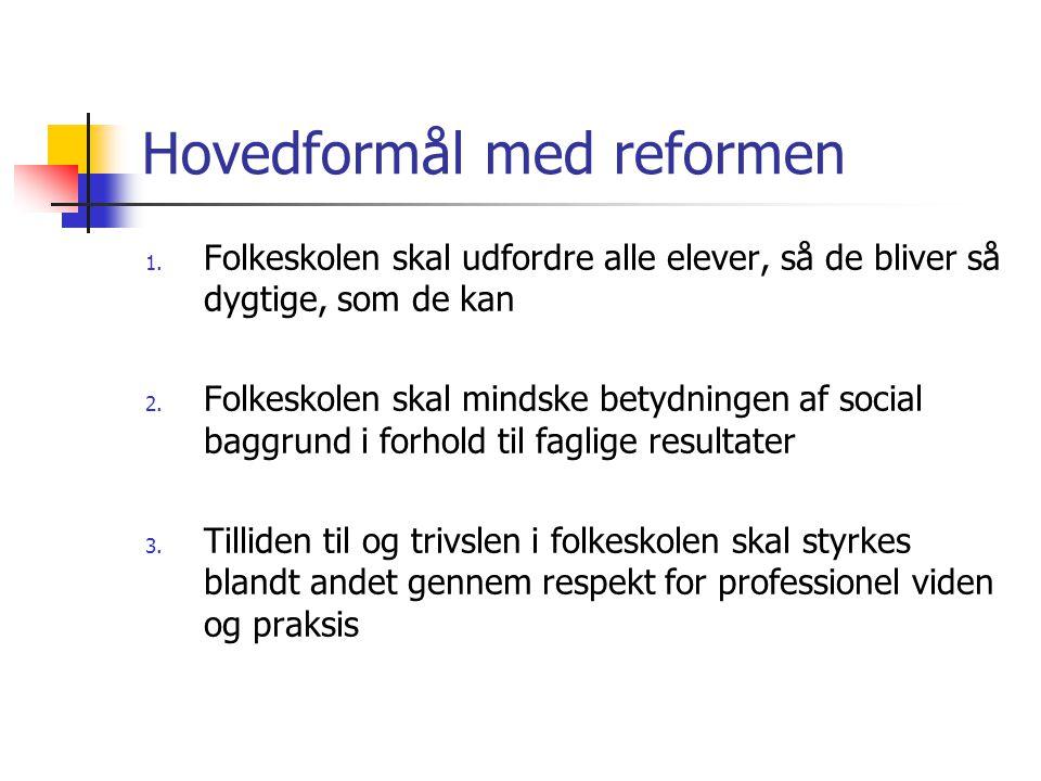 Hovedformål med reformen