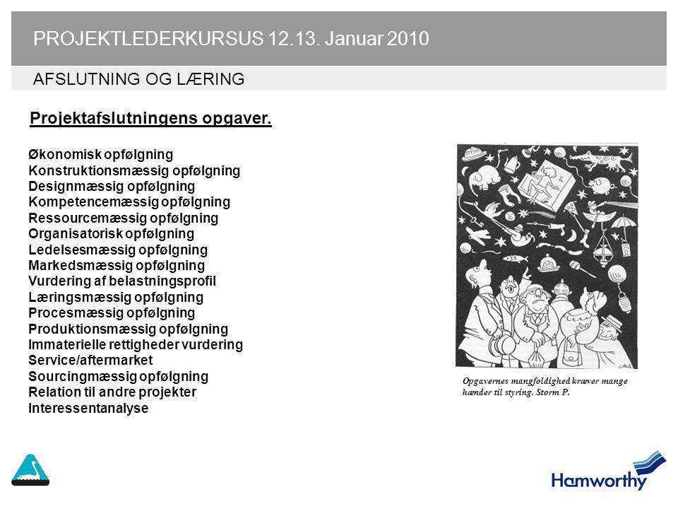 PROJEKTLEDERKURSUS 12.13. Januar 2010