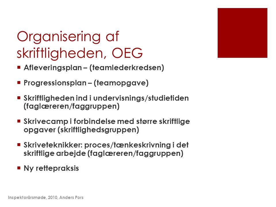 Organisering af skriftligheden, OEG