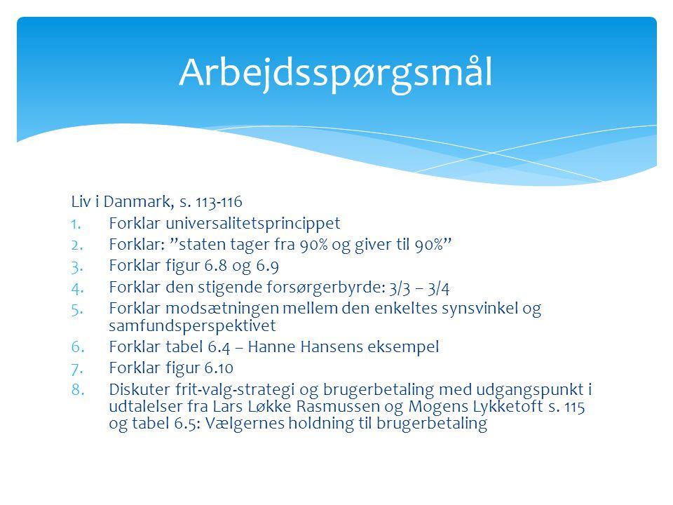 Arbejdsspørgsmål Liv i Danmark, s. 113-116
